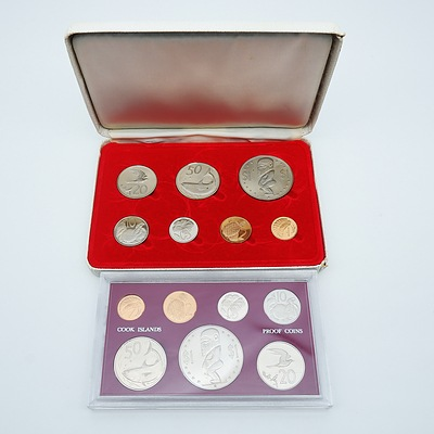1972 Cooks Islands Proof Coin Set and 1972 Cook Islands Coin Set