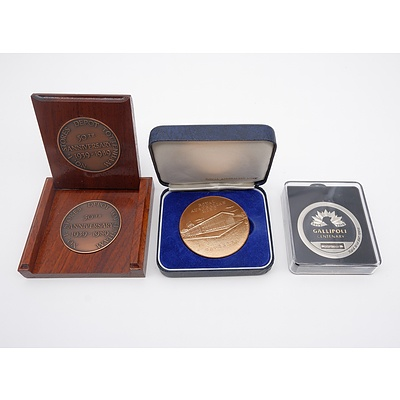 Royal Australian Mint Medal Circa 1966, No 1 Stores Depot Tottenham 50th Anniversary 1939-1989 Medallion and Sands of Gallipoli Medallion