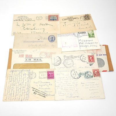 Nine 1880-1951 Collection Postcards and Covers from The United States of America