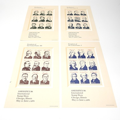 Four 1986 Ameripex 22 Cents Presidents of the United States International Stamp Show Mini Sheets, Mint and Unhinged