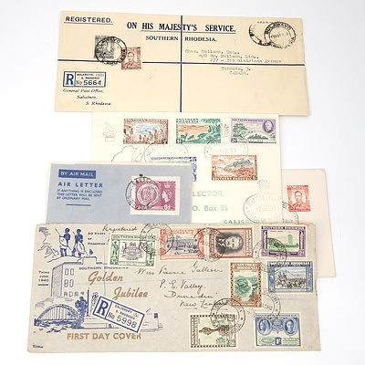 Five 1940-1958 Collection of Covers from Southern Rhodesia