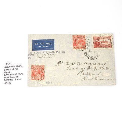 1939 Airmail Cover Eustis Cat E808 First Flight From: Cooktown to Rabaul P.N.G