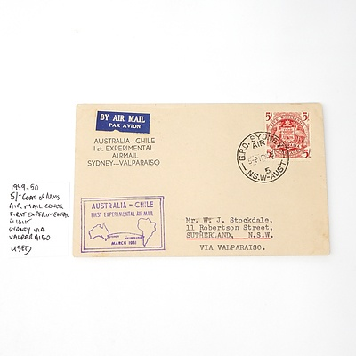 1949-50 5/- Coat of Arms Airmail Cover First Experimental Flight, Sydney Via Valparaiso