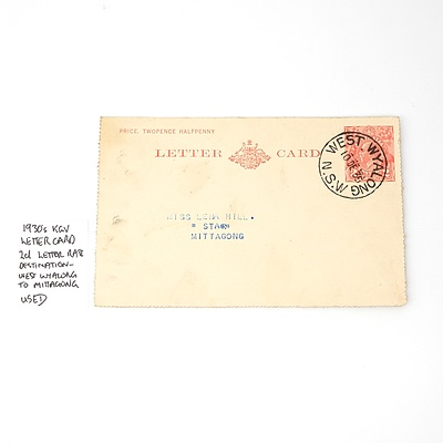 1930's KGV Letter Card 2d Letter Rate Destination - West Wyalong to Mittagong