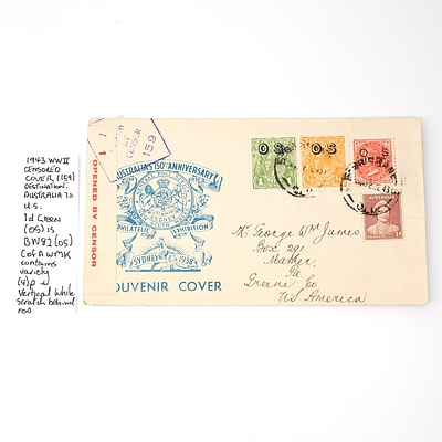1943 WWII Censored Cover (159) Destination: Australia to U.S. 1d Green (os) is BW82 (os) Cofamk Contains Variety (4)p Vertical White Scratch Behind Kangaroo