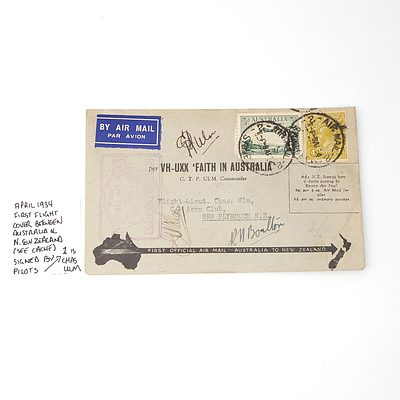 April 1934 First Flight Cover Between Australia and New Zealand, Signed by Pilot Chas Ulm