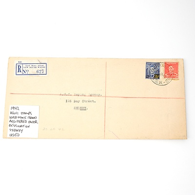 1942 KGVI Stamps Lord Howe Island Registered Cover Destination Sydney