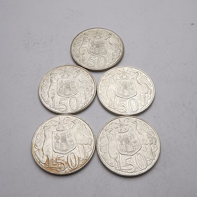 Five Australian 1966 Silver Fifty Cent Coins