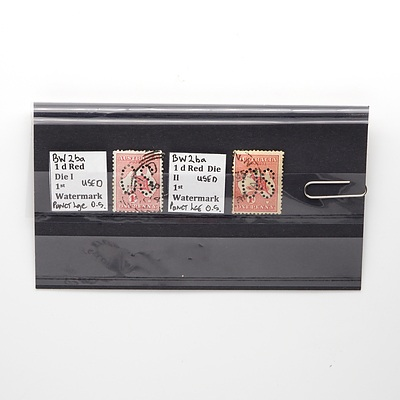 Two 1d Red Die I and II Watermark Stamps