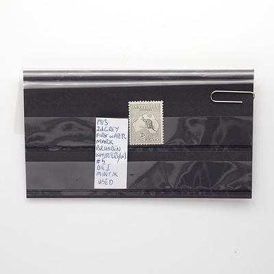 1913 2d Grey First Water Mark Brusden White (B/W) Die I Stamp