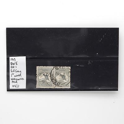 1913 BW5 Die I 2d Grey 1st WMK Horizontal Pair of Stamps