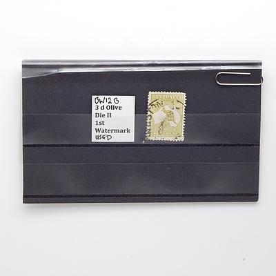3d Olive Die II 1st Watermark Stamp, BW12B