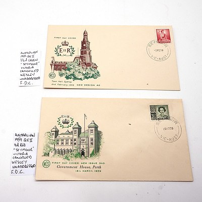 "Two Australian 1959 Queen Elizabeth 3 1/2d and 4d ""Seymour"" Victoria Cancelled Wesley Unaddressed F.D.C."