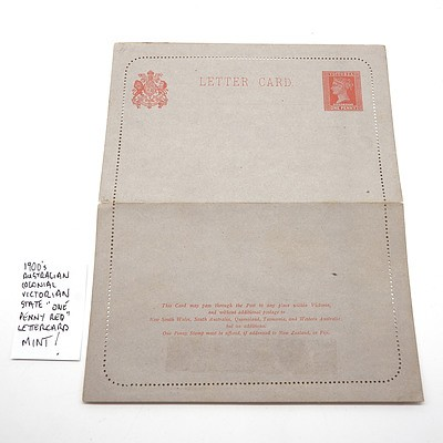 """1900's Australian Colonial Victorian State """"One Penny Red"""" Letter Card, Mint"""