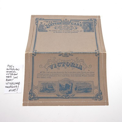 """1900's Australian Colonial Victorian State """"One Penny"""" Letter Card, Unopened and Mint"""