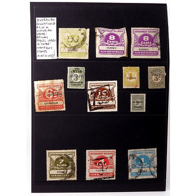 """Australian Collection of N.S.W and Victorian States: Railway Parcel Labels and """"Cattle"""" Stamp Duty Stamps, Mint and Used"""