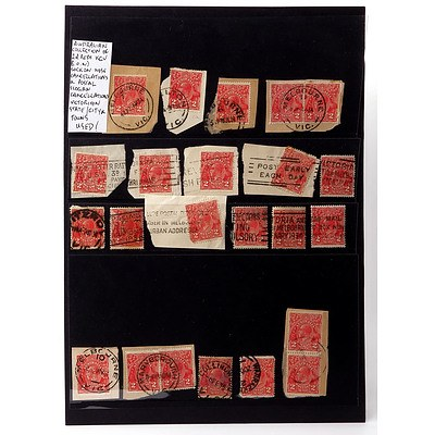 Australian Collection of 2d Reds King George V Sock on Nose Cancellations and Postal Slogan Cancellations, Used