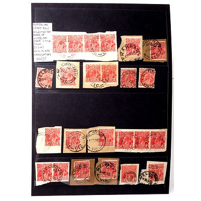 Australian Collection of 2d Reds King George V, Collection on Paper of Victorian State, City and Town and Sock on Nose Cancellations, Used