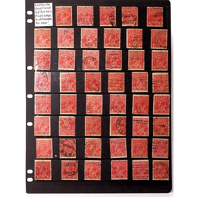 Australian Collection of 1 1/2d Red King George V's Mixed Shades and Watermarks, Used