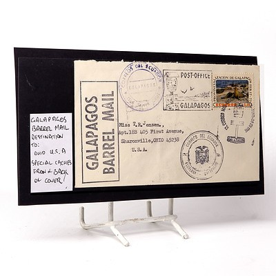 Galapagos Barrel Mail Destination To: Ohio U.S.A., Special Caches Front and Back of Cover
