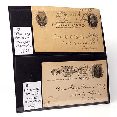 """1881 and 1903 Postal Card from U.S.A. """"One Cent"""" Denomination, Used"""