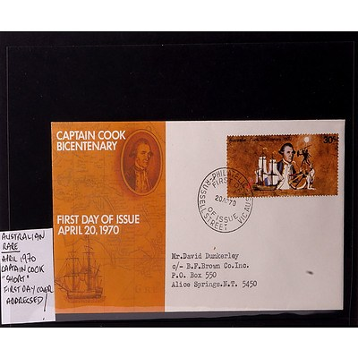 """Rare 1970 30 Cents Australian Captain Cook """"Short"""" First Day Cover, Addressed"""