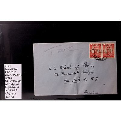 1946 2d Southern Rhodesia King George VI Stamped Letter, Rhodesia to New York (Post War Cover)