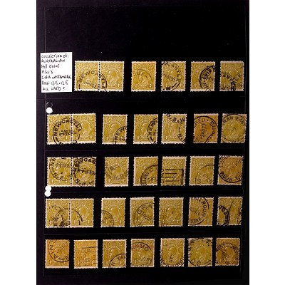 Collection of Australian 4d Olive King George V's C of A Watermark, Perf 13.5 x 12.5, Used