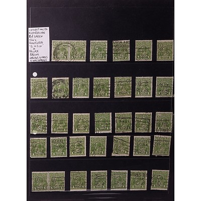 """Collection of Australian 1d Green King George V's Punctured """"G.N.S.W."""" and Private Perfins, Various Shades and Watermarks"""