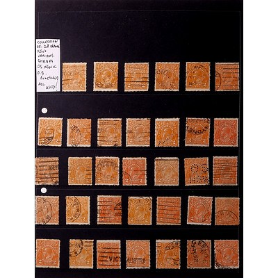 Collection of Australian 2d Orange King George V's Various Shades and Punctured, Used
