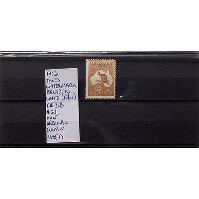 1926 6d Third Watermark Brusden White (b/w) #21 Die IIB Mint Original Stamp, Gum and Used