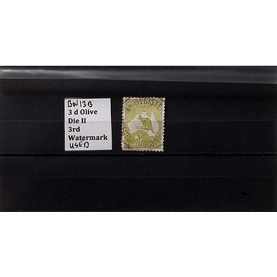 3d Olive Die II 3rd Watermark Stamp, Used