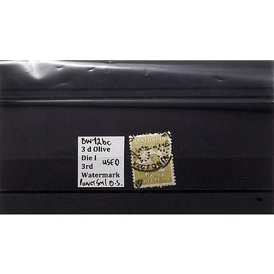 3d Olive Die I 3rd Watermark Stamp, Used
