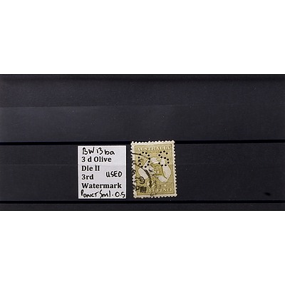 3d Olive Die II 3rd Watermark Stamp, Used and Punctured O.S.