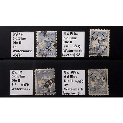 Four 6d Blue Die II 1st, 2nd and 3rd Watermark Stamps, Used