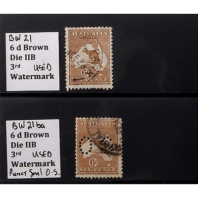 Two 6d Brown Die IIB 3rd Watermark Stamps, Used