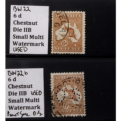 Two 6d Chestnut Die IIB Small Multi Watermark Stamps, One Punctured O.S. and Used