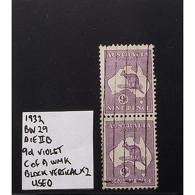 Vertical Block of Two 1932 9d Violet BW29 Die IIB, C of A WMK and Used