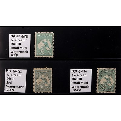 1918, 1926 and 1929 1/- Green Die II/B Watermarked Stamp, Used