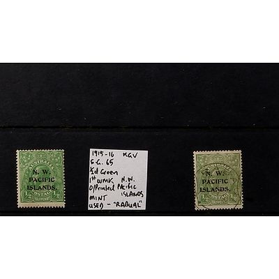 "Two 1915-16 1/2d King George V Green 1st Watermark O/Printed  ""N.W. Pacific Islands"" Stamps, Mint and Used - ""Rabual"""