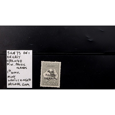 "2d Grey S.G #73 Die I O/Printed ""N.W. Pacific Islands"" 1st Watermark, Mint Lightly Hinged and Original Gum"