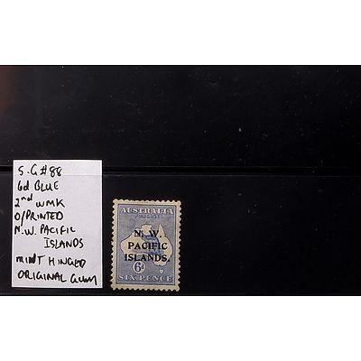"6d Blue S.G #88 Die I O/Printed ""N.W. Pacific Islands"" 2nd Watermark, Mint Hinged and Original Gum"