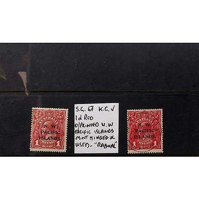"""Two 1d Red King George V S.G. #67 O/Printed """"N.W. Pacific Islands"""" 2nd Watermark, Mint Hinged and Used - """"Rabual"""""""