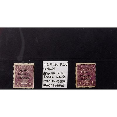 """Two 1d Violet King George V S.G #120 O/Printed """"N.W. Pacific Islands"""" 2nd Watermark, Mint Hinged and Used """"Rabual"""""""