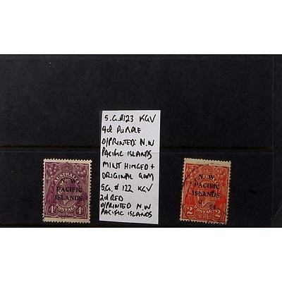 """4d Purple King George V S.G. #123 Stamp, Mint Hinged and Original Gum and 2d Red S.G. #122 King George V Stamp, Used - Both O/Printed """"N.W. Pacific Islands"""""""