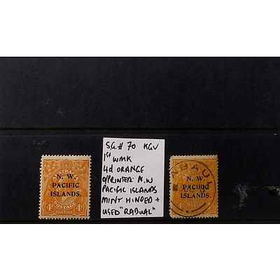 "Two 4d Orange King George V S.G. #70 1st Watermark O/Printed ""N.W. Pacific Islands"" Stamps, Mint Hinged & Used ""Rabual"""