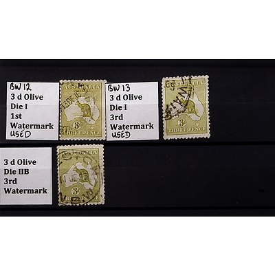 Three 3d Olive Die I 1st and 3rd Watermark Stamps, Used