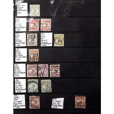 Sheet of Australia Stamps, Including 1913 BW1 Die I 1/2d Green Stamp, 1926 6d Die IIB Brown Stamp and More