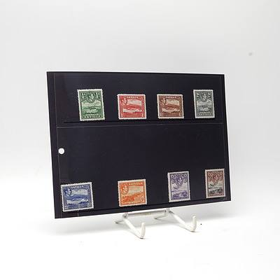 1938 King George VI Antigua Short Stamp Set 1/2d - 1/-, Lightly Hinged