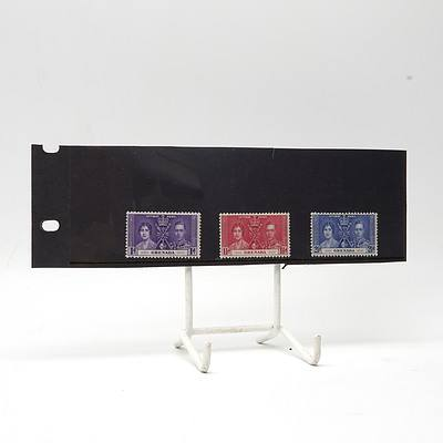 1937 King George VI Coronation 'Grenada' Coronation Stamp Set 1d - 2 1/2d, Lightly Hinged